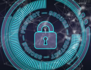 A rendering of a virtual padlock encircled by various high-tech looking effects and the words: Protect - Secure - Protect - Secure
