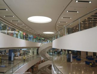 The inside view of a big shopping mall.